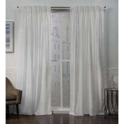 Velvet 27 in. W x 96 in. L Velvet Pinch Pleat Top Curtain Panel in Winter White (2 Panels)