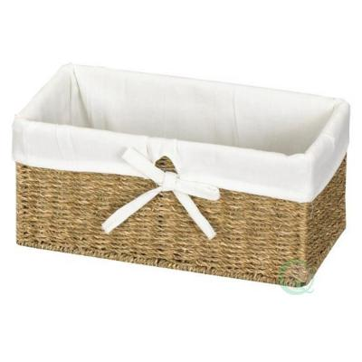 12 in. W x 6.5 in. D x 5.3 in. H Seagrass Shelf Basket Lined with White Lining
