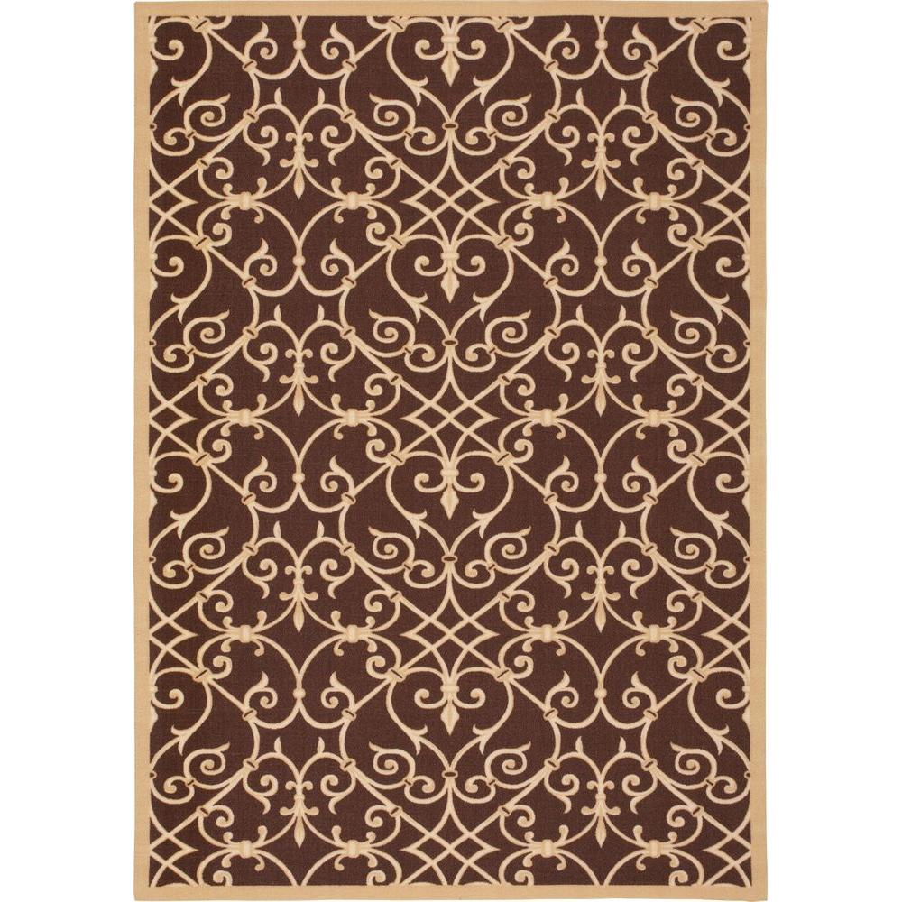 Nourison Overstock Home and Garden Jamaica Brown 5 ft. 3 in. x 7 ft. 5 in. Indoor/Outdoor Area Rug