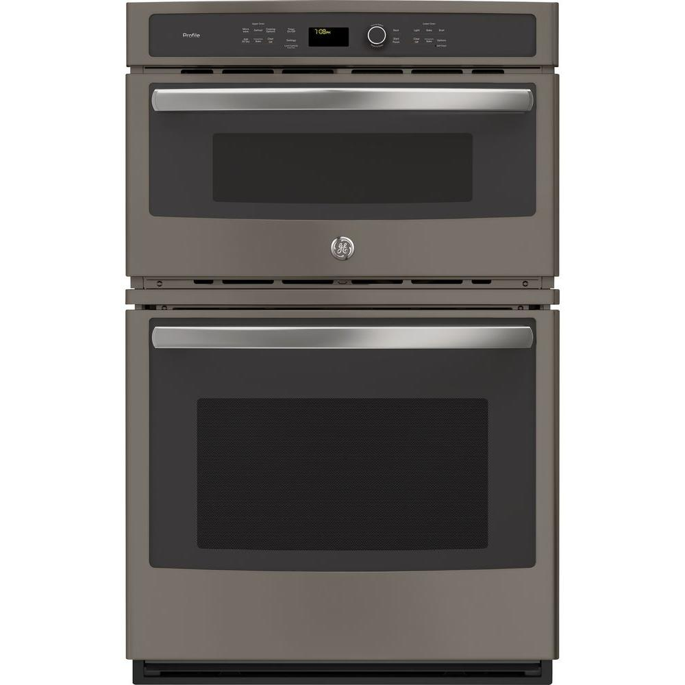 GE Profile 27 in. Double Electric Wall Oven with Convection Self-Cleaning and Built-In Microwave in Slate