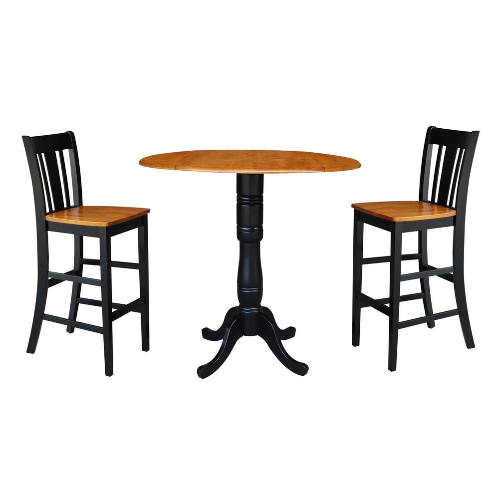 International Concepts Laurel 3 Piece Black And Cherry 42 In Bar Height Dropleaf Table And San Remo Bar Stool Dining Set K57 42dpt S103 2 The Home Depot