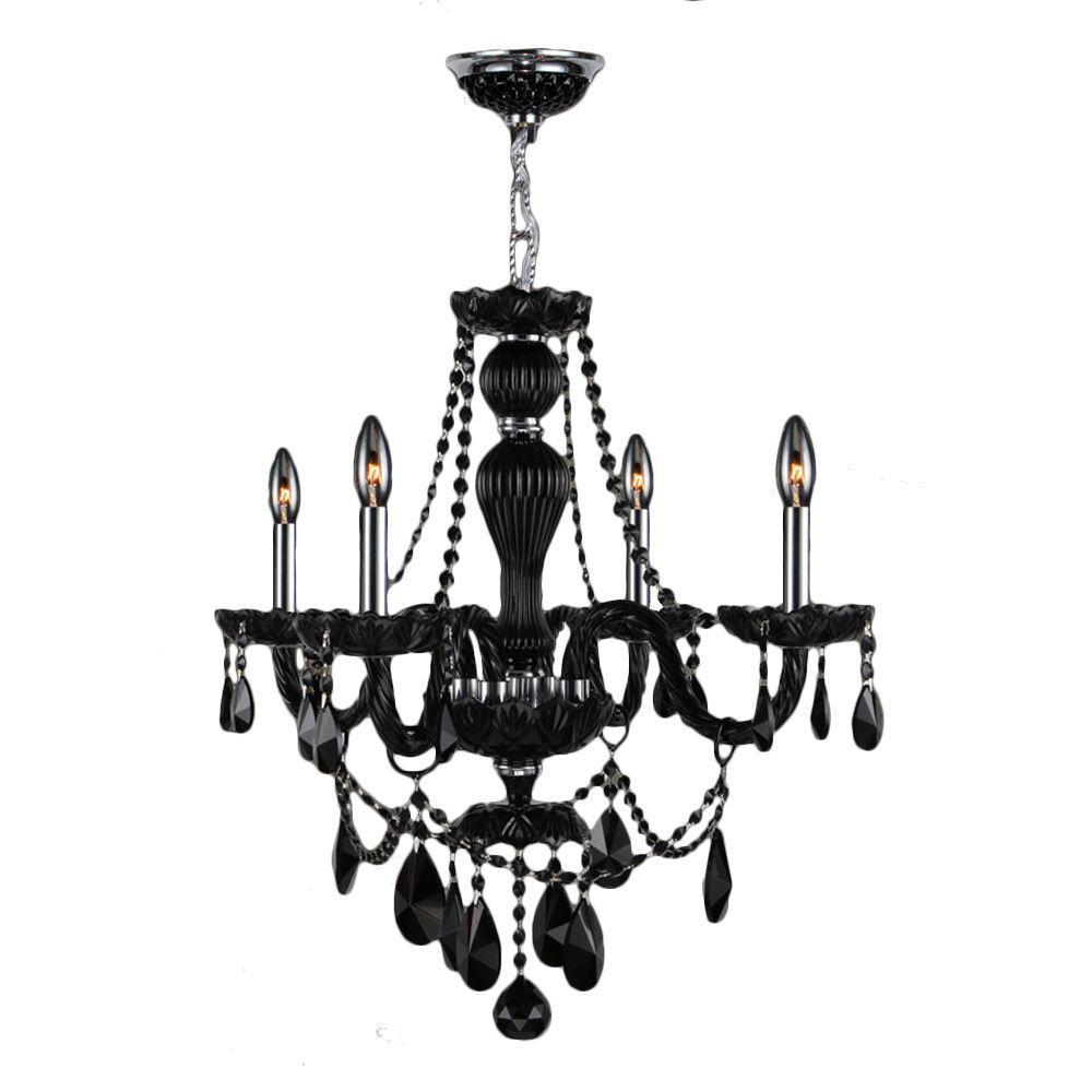 Provence 4-Light Polished Chrome Black Crystal Chandelier