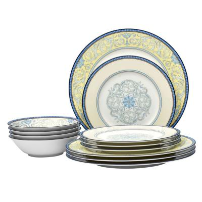 12-Piece Formal blue/yellow Bone China Dinnerware Set (Service for 4)