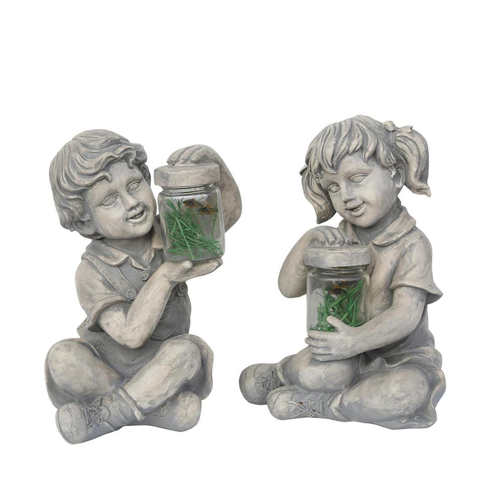 Boy And Girl With Fireflies Statues (Set Of 2)