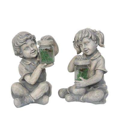 12 in. Boy and Girl with Fireflies Statues (Set of 2)