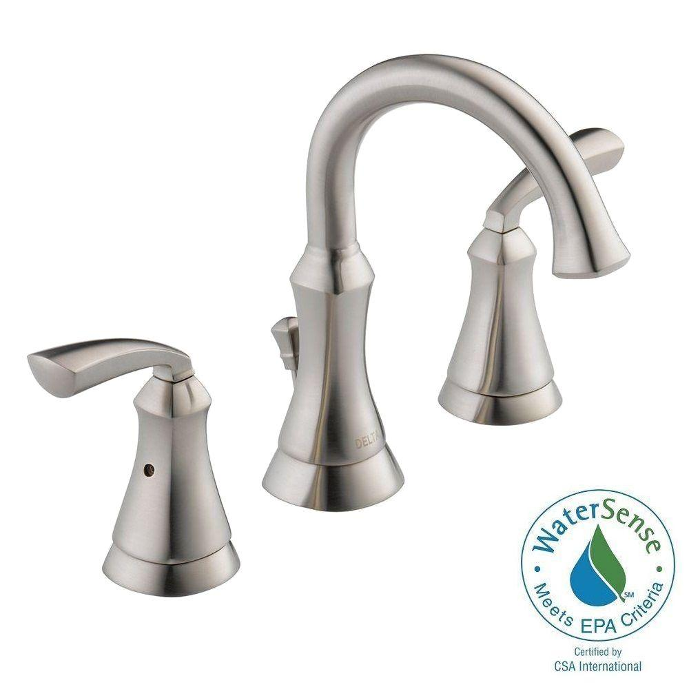 Delta mandara 8 in widespread 2 handle bathroom faucet in - Delta bathroom faucets brushed nickel ...