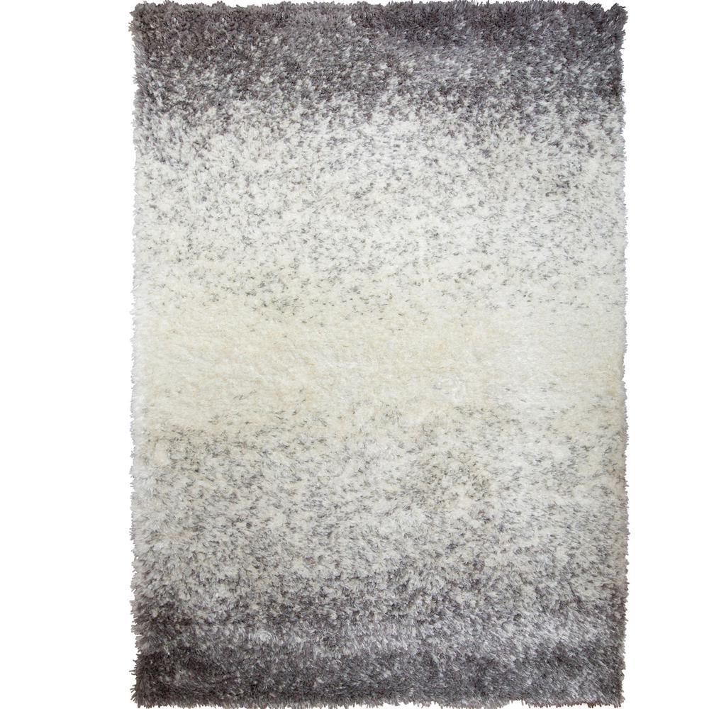 Bazaar Shiny Shag Gray/Ivory 8 ft. x 10 ft. Indoor Area Rug