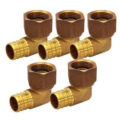 3/4 in. x 3/4 in. Brass PEX Barb x FIP 90-Degree Swivel Elbow Pipe Fitting (5-Pack)