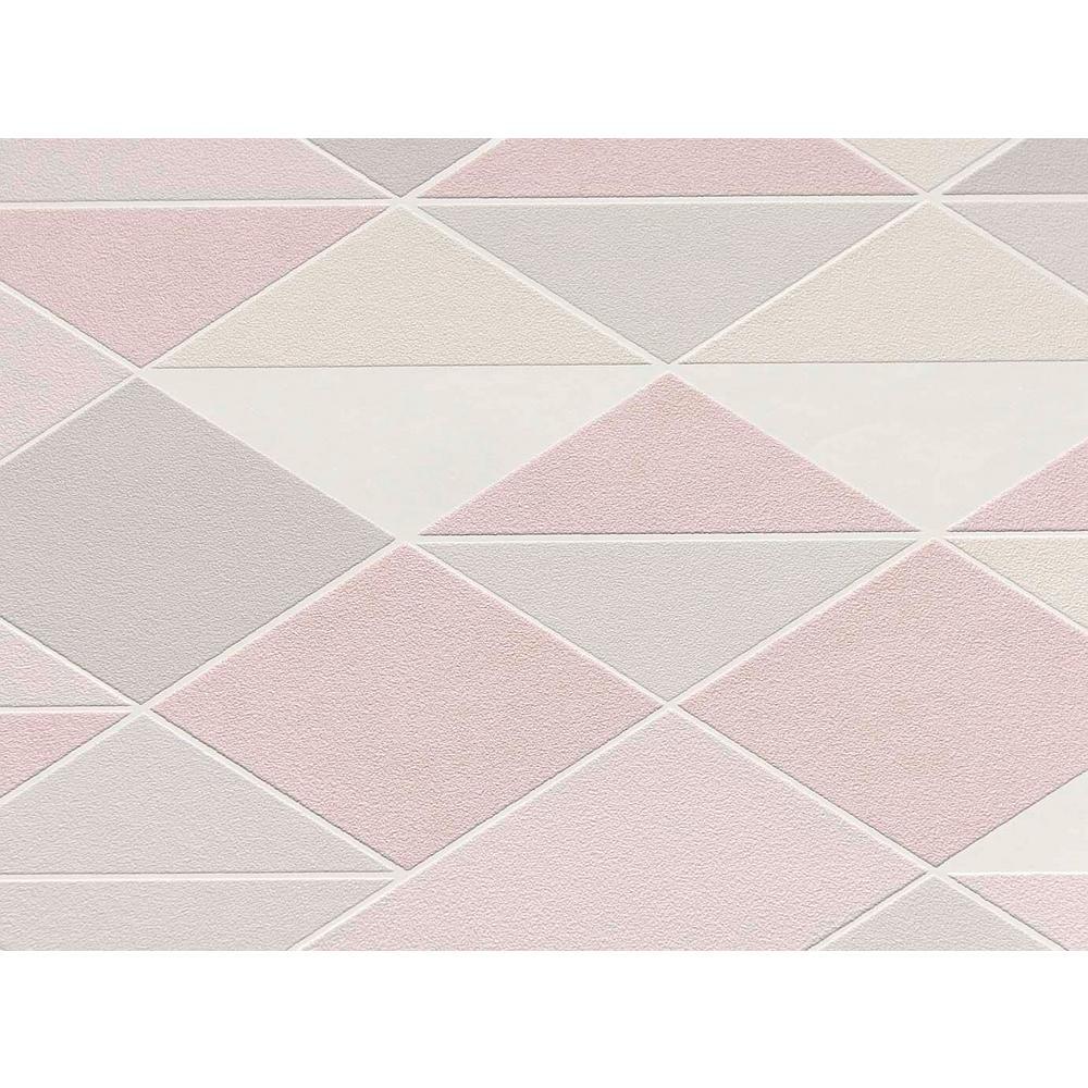Blush Pink & Light Grey Dwinding Diamonds Wallpaper