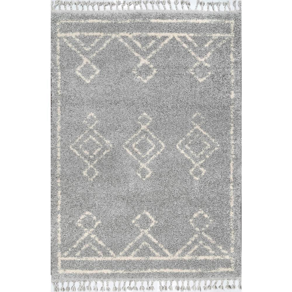 Nuloom Mackie Moroccan Diamond Shag Gray 4 Ft X 6 Ft Area Rug