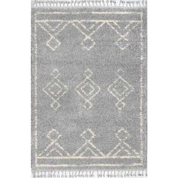 Mackie Moroccan Diamond Shag Gray 9 ft. x 12 ft. Area Rug