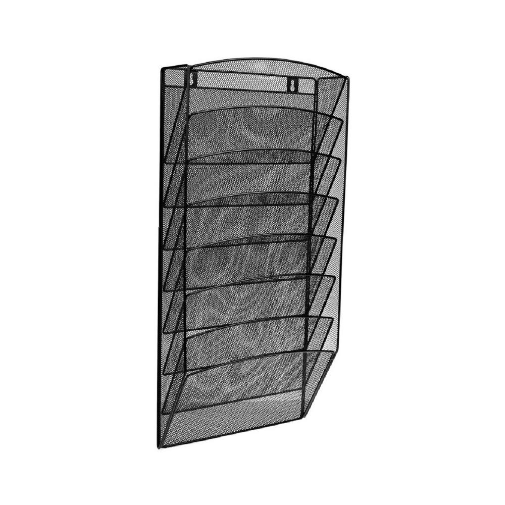 AdirOffice Steel Mesh 8-Pocket Wall-Mounted Magazine Rack 634-08-BLK