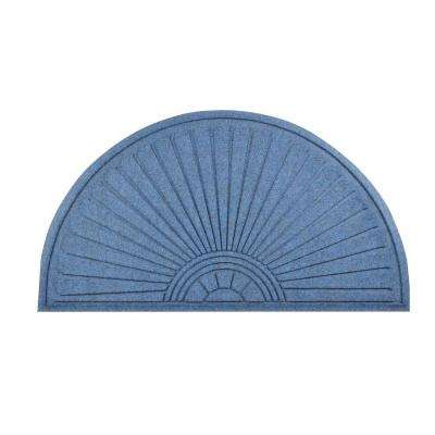 Guzzler Sunburst Slate Blue 36 in. x 70 in. Rubber-Backed Entrance Mat