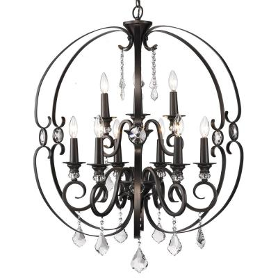 Ella 9-Light Brushed Etruscan Bronze Chandelier