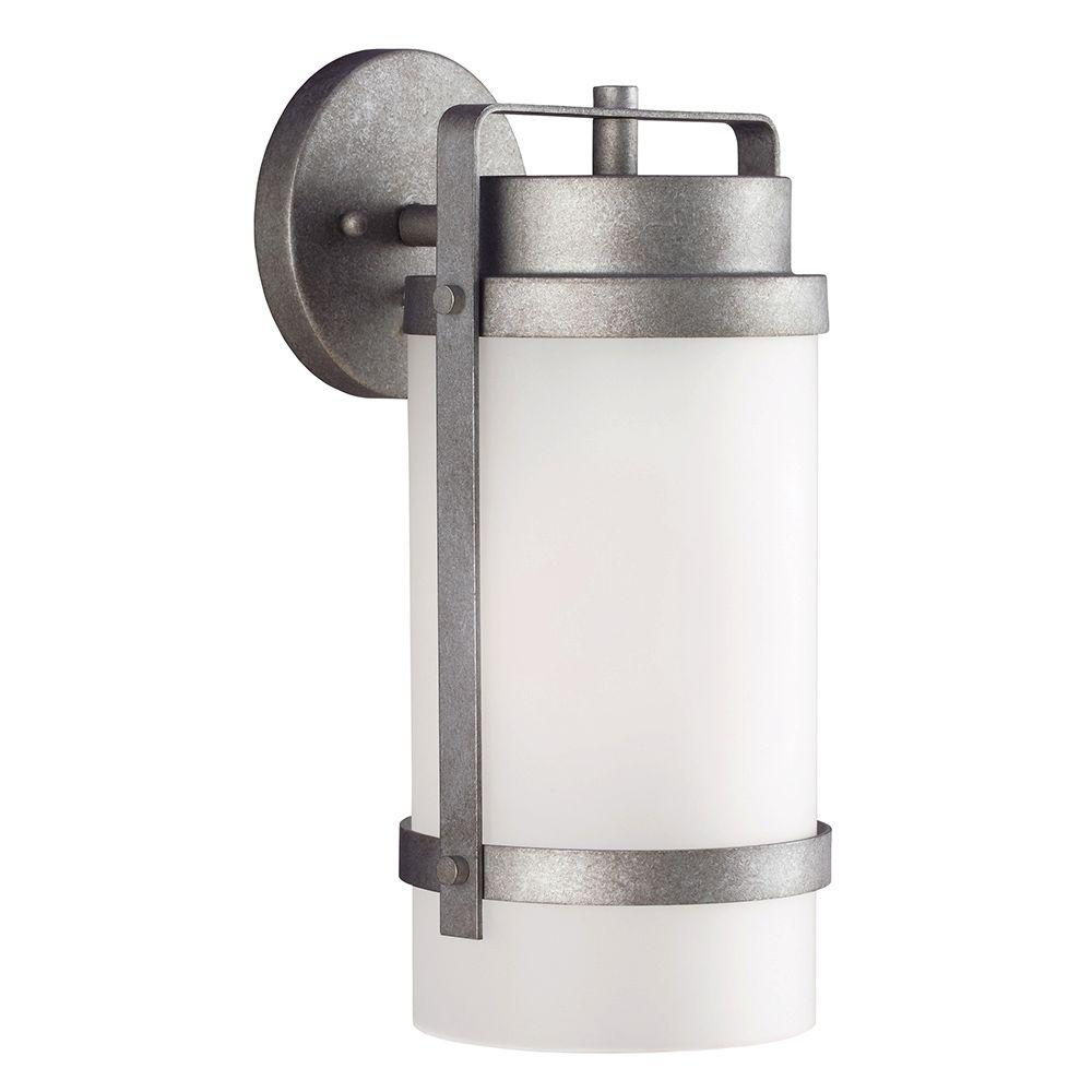 Sea Gull Lighting Bucktown 1-Light Outdoor Weathered Pewter Wall Lantern with Satin Etched Glass