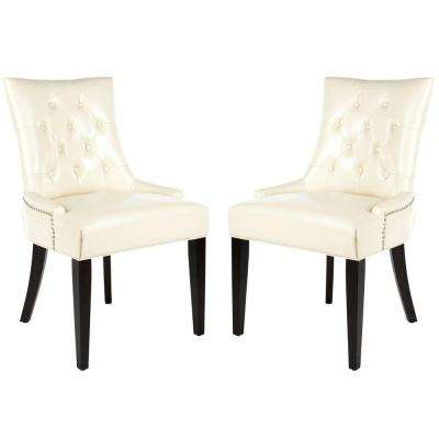 Abby Flat Cream/Espresso Bicast Leather Side Chair (Set of 2)