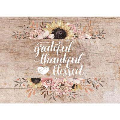 MHF Home Grateful, Thankful, Blessed Brown 18 in. W x 13 in. L Polypropylene Placemat Set (4-Pack)