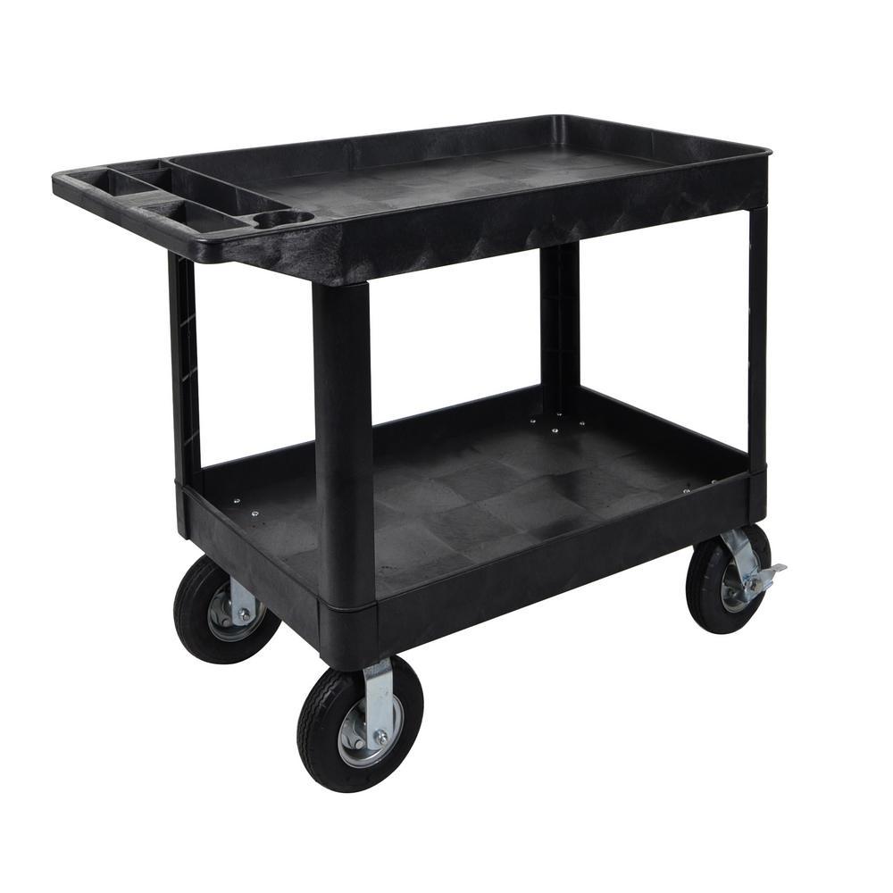 Luxor XLC 24 W x 45 L - 2-Shelf Heavy Duty Utility Cart 8 in.  Fully Pneumatic Casters