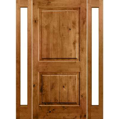 58 in. x 80 in. Rustic Unfinished Knotty Alder Sq-Top VG Wood Right-Hand Full Sidelites Clear Glass Prehung Front Door