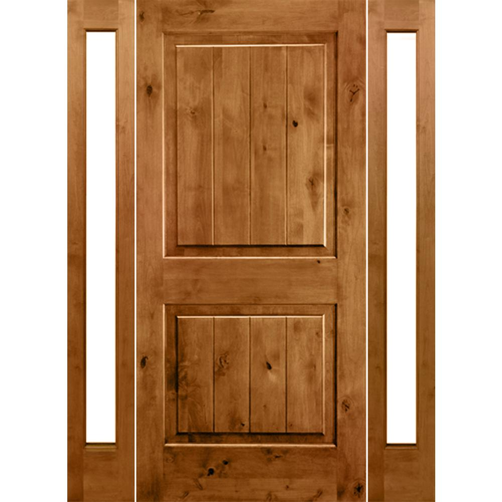 1dd63c73370 Rustic Knotty Alder Square Top VG Unfinished Left-Hand Inswing Prehung  Front Door with Full Sidelites