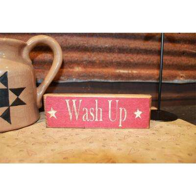 Wash up Decorative Wood Sign Red