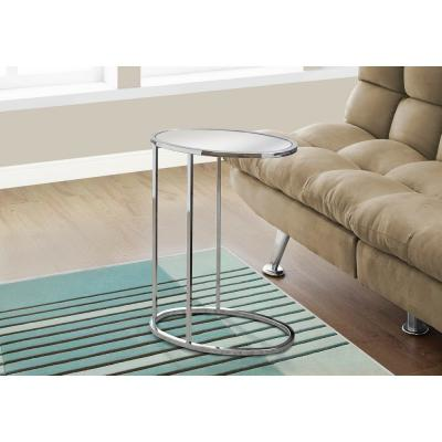 Chrome Metal Accent Table with Mirrored Top