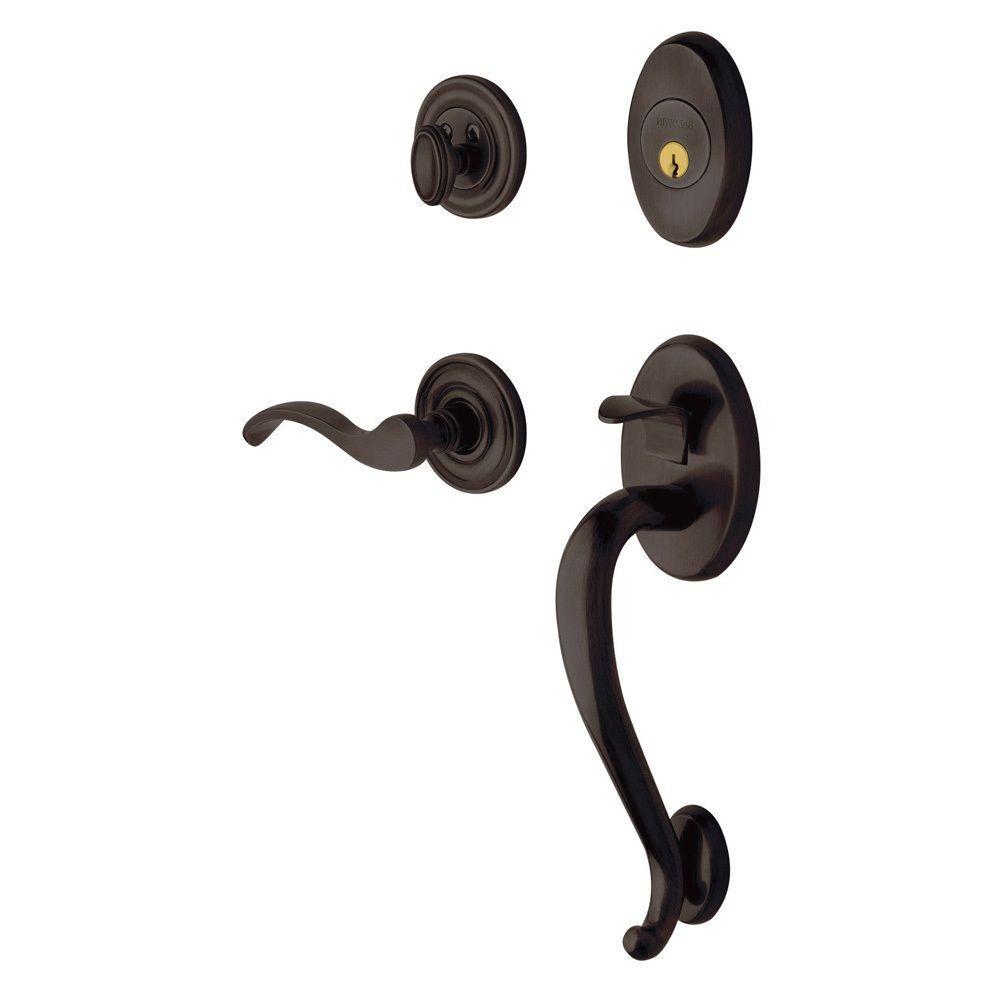 Logan Single Cylinder Venetian Bronze Right-Handed Door Handleset with Wave Lever