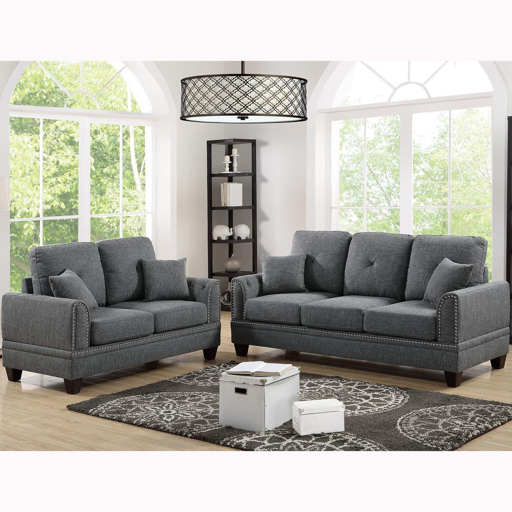 Venetian Worldwide Majella 2-Piece Ash Black Sofa Set VENE ...