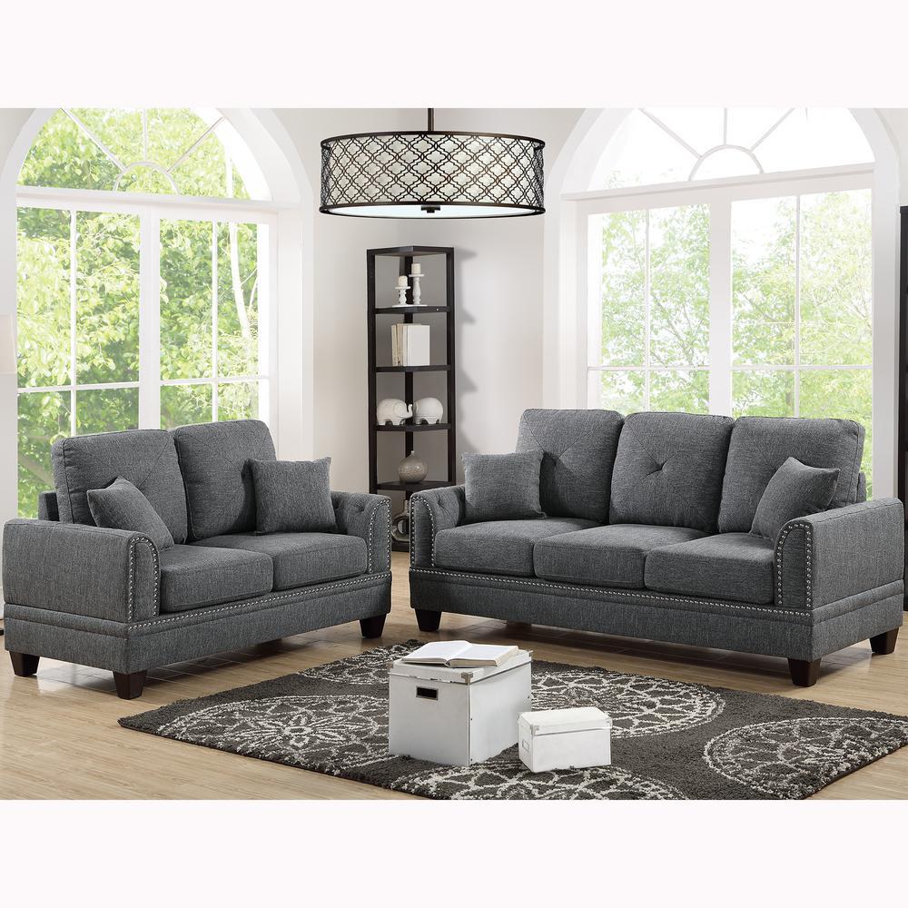 Majella 2-Piece Ash Black Sofa Set