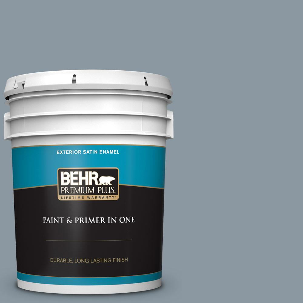 N490 4 Teton Blue Satin Enamel Exterior Paint And Primer In One