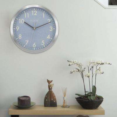 10 in. H Round Silver Metal Analog Wall Clock with Blue Dial