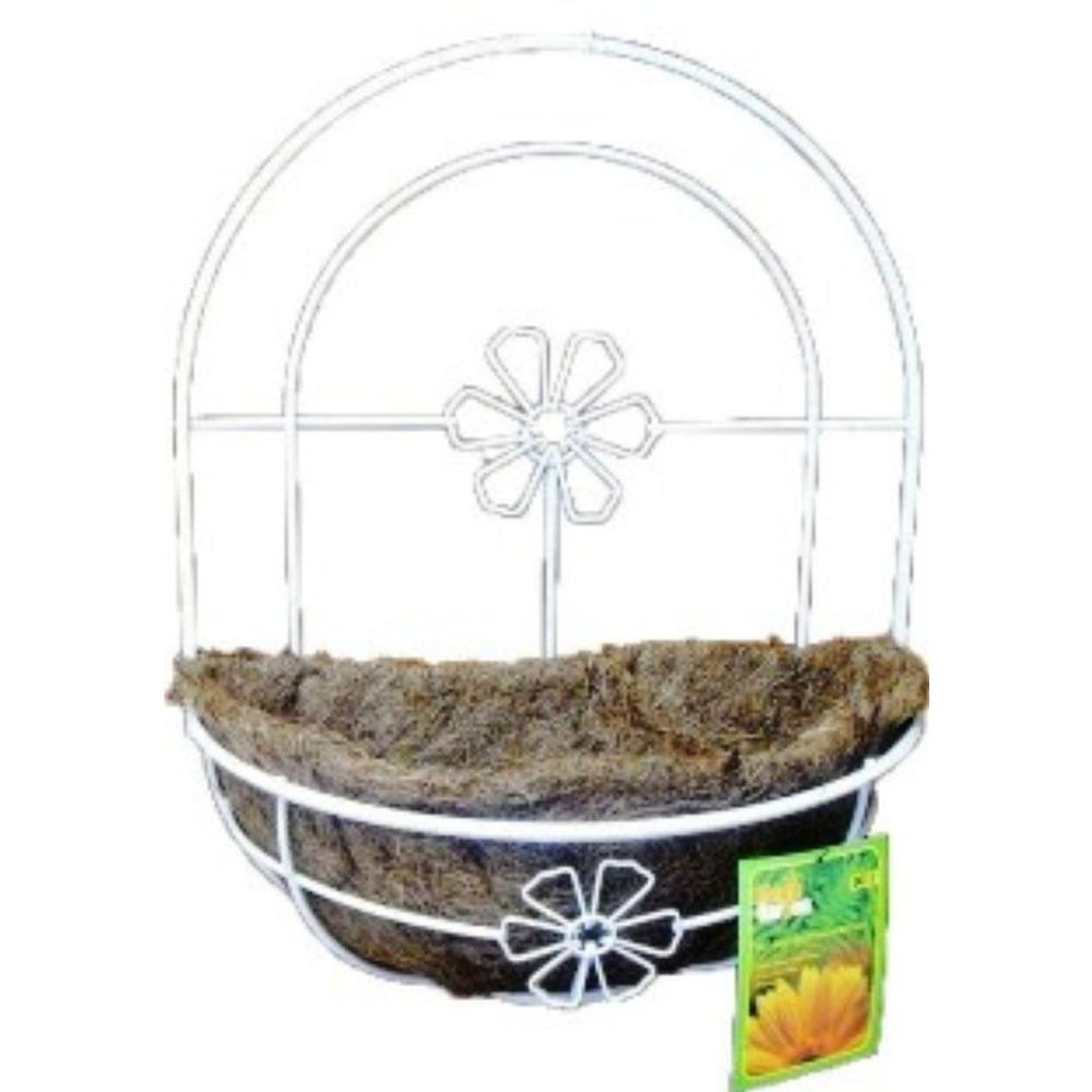 Kymmico 12 In White Metal Wall Planter Basket 08016 The Home Depot