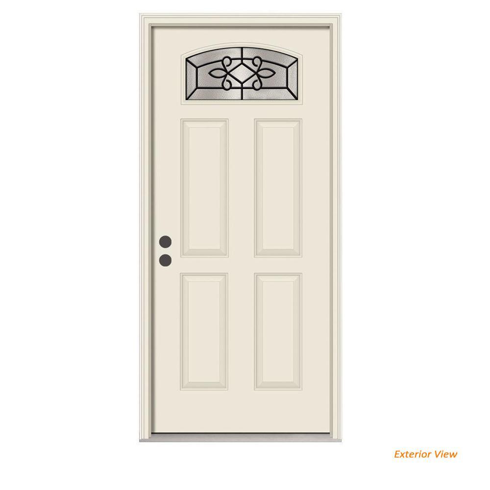 JELD-WEN 36 in. x 80 in. Camber Top Sanibel Primed Steel Prehung Right-Hand Inswing Front Door w/Brickmould