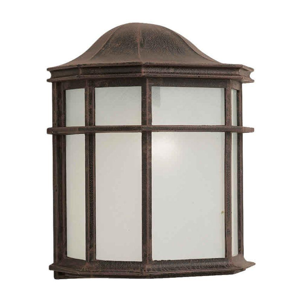 Talista 1-Light Outdoor Painted Rust Wall Lantern with a White Acrylic Shade
