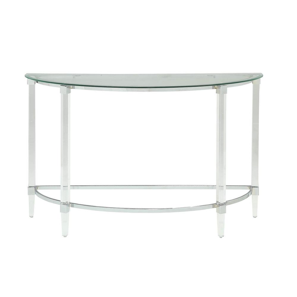 Acme Furniture Reva Clear Acrylic Chrome And Clear Glass Sofa Table