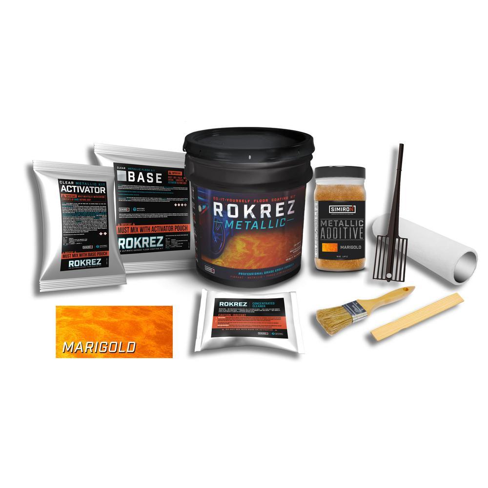 SIMIRON ROKREZ 128 oz. Marigold Metallic Gloss 125 sq. ft. DIY 2 Component 100% Solids Waterproofing Epoxy Garage Floor Kit