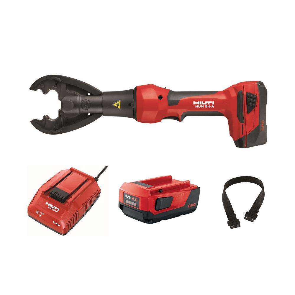 Hilti 22-Volt NUN 54 Inline Universal 6T Cordless Crimper/Cutter Kit with B 22/4.0 Li-Ion Battery Pack, Charger and Strap