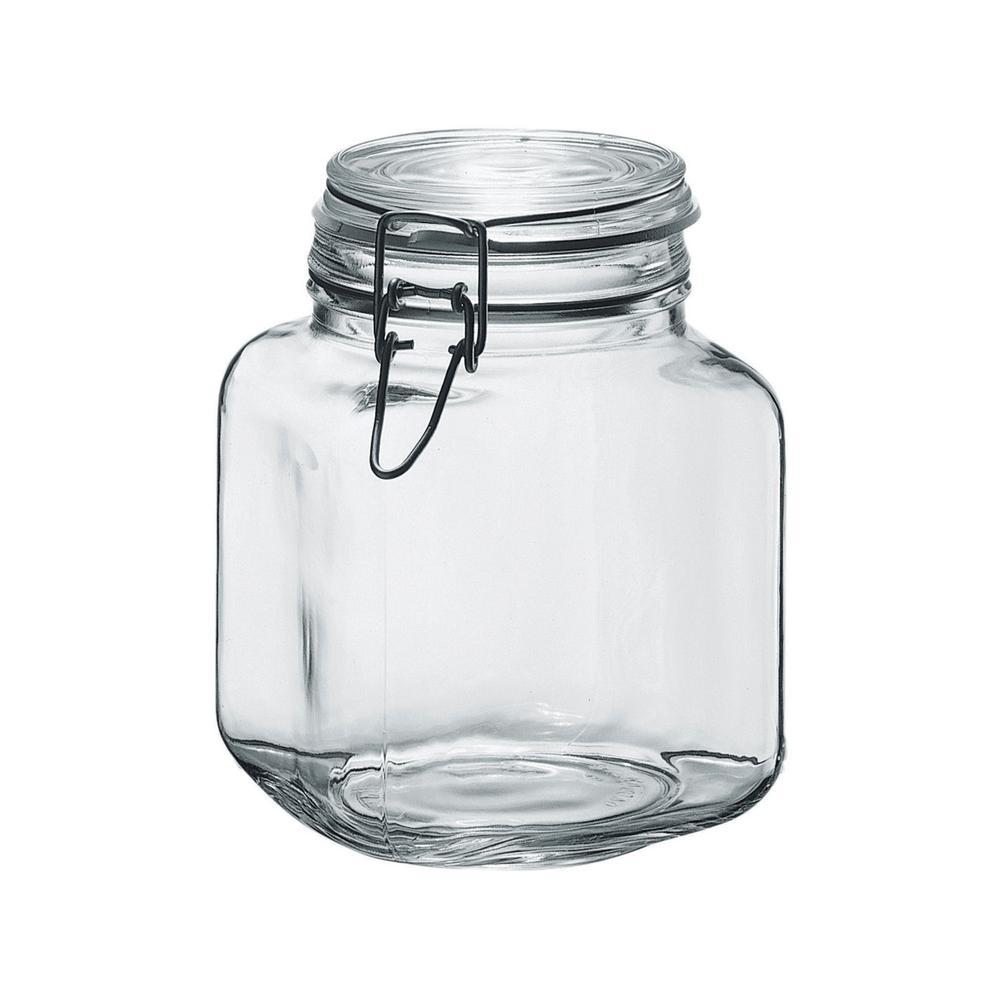 Borgonovo 58 oz. 6-Piece Glass Hermetic Canning Jar Set with Metal Lids