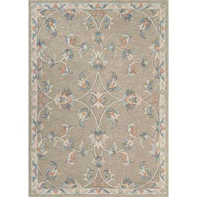 Victorian Cream / Gray 5 ft. x 7 ft. Mirroring Floral Bloom Area Rug
