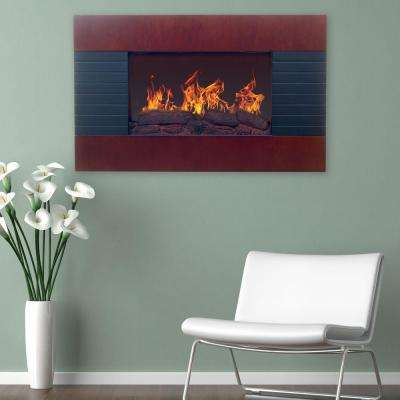 35 in. Electric Fireplace with Wall Mount and Remote in Mahogany
