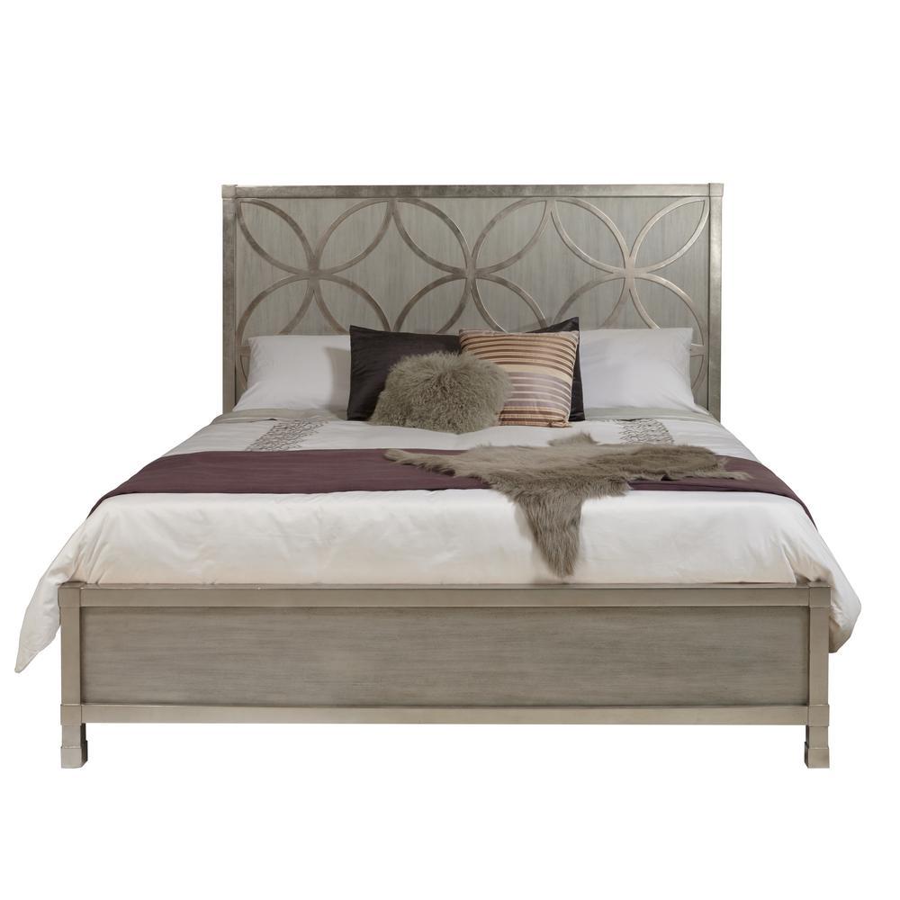 Silverleaf Quatrefoil Gray Queen Bed