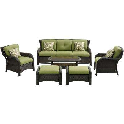Strathmere 6-Piece Wicker Patio Conversation Set with Cilantro Green Cushions