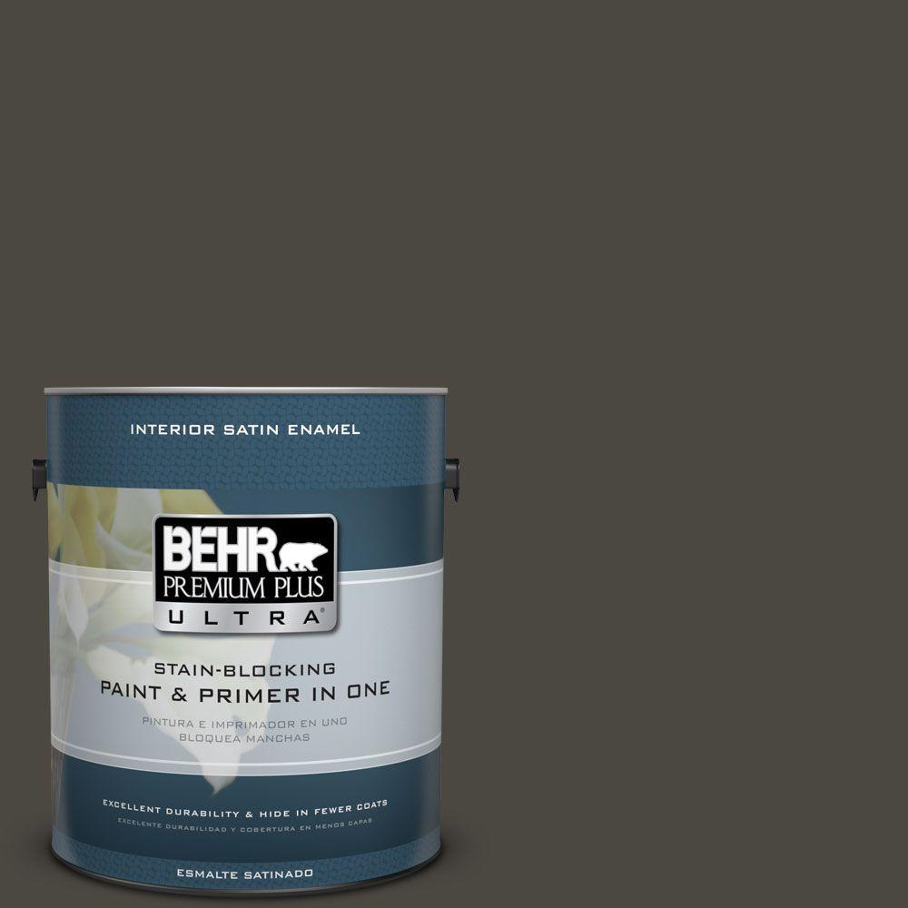 1 gal. #HDC-CL-14A Warm Onyx Satin Enamel Interior Paint