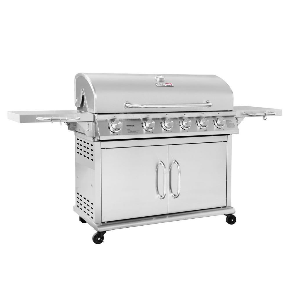 Royal Gourmet Pre-Assembled 6-Burner LP Gas Grill with In...