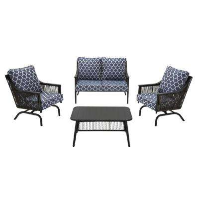 Bayhurst 4-Piece Black Wicker Outdoor Patio Conversation Seating Set w/ CushionGuard Midnight Trellis Navy Blue Cushions