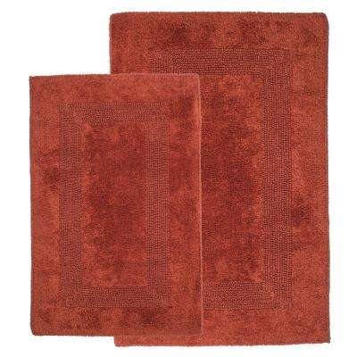 Brick 1 ft. 10 in. x 2 ft. 11 in. Cotton 2-Piece Bath Rug Set