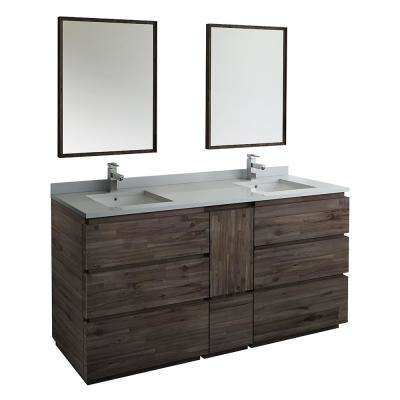 Formosa 72 in. Modern Double Vanity in Warm Gray with Quartz Stone Vanity Top in White with White Basins and Mirrors