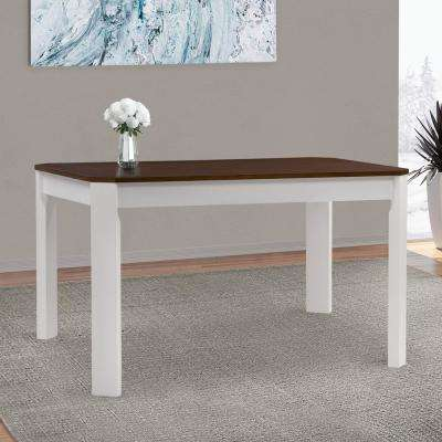 Memphis White and Brown Duotone Solid Hardwood Dining Table with Angled Corners