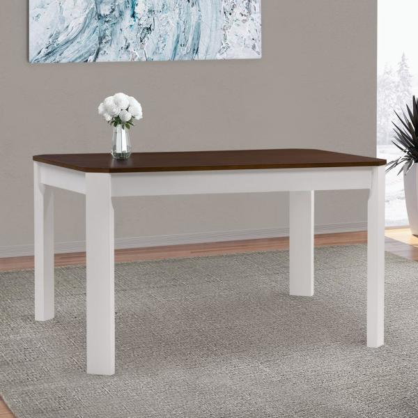 Corliving Memphis White And Brown Duotone Solid Hardwood Dining Table With Angled Corners