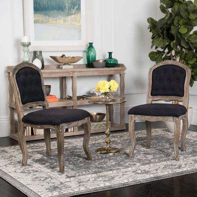 Eloise Black/Rustic Oak 20 in. H French Leg Dining Chair (Set of 2)